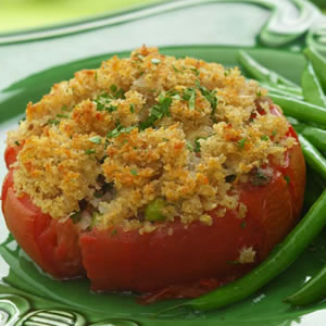 Stuffed Tomatoes with Golden Crumb Topping