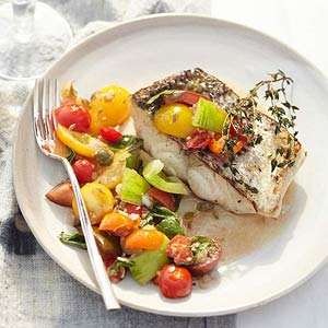 Striped Bass with Tomato Relish