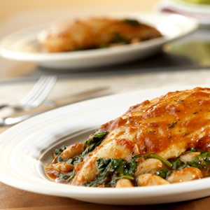 Braised Chicken with Savory White Beans and Spinach