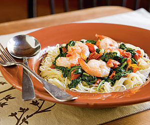 Sauteed Spinach and Shrimp