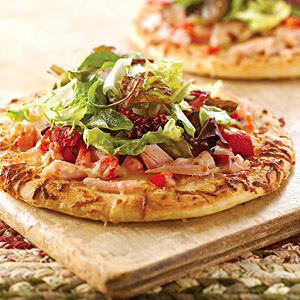 Chicken and Greens Pizzas