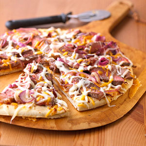 Steak and Cheese Melt Pizza