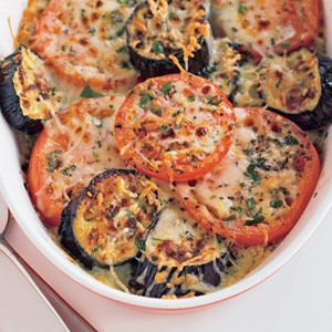Grilled Eggplant and Tomato Gratin