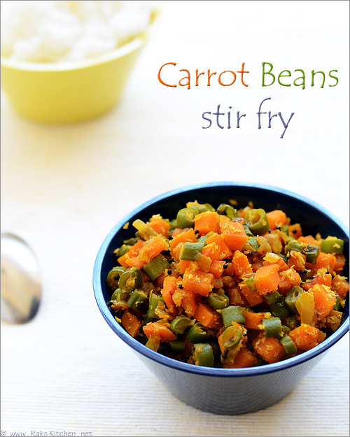 Carrot Beans Poriyal Recipe / Carrot Beans Stir Fry