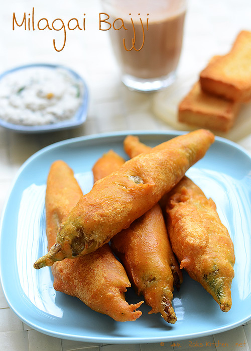 Chilli Bajji / Milagai Bajji Recipe