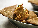 Red Pepper Hummus with Toasted Pita Triangles