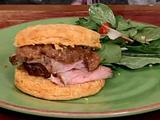 Sweet Potato Biscuits with Peppered Pork Loin, Apple Mustard Butter and Salad