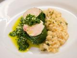 Spinach Wrapped Chicken with Lemon Risotto and Feta Cheese Salsa Verde