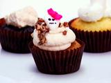 Sweet Potato Cupcakes, Brown Sugar Cream Cheese Frosting, Candied Pecans