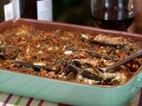 Eggplant Casserole with Red Pepper Pesto and Cajun Breadcrumbs