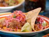 Cuban Pulled Pork Tacos with Guava Glaze, Sour Orange Red Cabbage-Jicama Slaw and Chipotle Mayonnaise