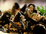 Grilled Mussels with Herbed Bread Crumbs