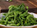 Edamame with Dill Salt and Pea Shoots