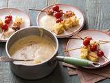 Aged Cheddar Fondue with Grilled Tomatoes, Bacon and Onions