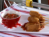Mini Corn Dogs with Sweet and Spicy Pepper Relish