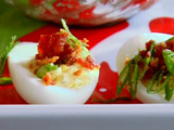 Holiday Horseradish Deviled Eggs