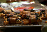 Fondue Dippers: Bacon Wrapped Chicken with Spinach, Blanched Vegetables and Apples