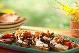 Crostini with Mascarpone, Grilled Scallion, Tomato and Balsamic Glaze