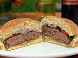 Masala Burgers with Tangy Tamarind Sauce and Red Onion-Mint Relish