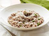 Red Wine Risotto with Peas
