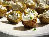 Crispy Baby Potato Bites with Sour Cream and Bacon