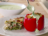 Couscous-Stuffed Peppers with Basil Sauce