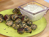 Spanikopita Chicken Meatballs with Spicy Cucumber and Yogurt Sauce