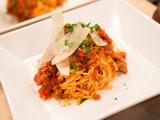Linguini Bolognese with Pancetta, Beef, Tomato Sauce, Herbs and Parmesan