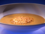 Creamy Pumpkin Soup with Toasted Hazelnut Frico
