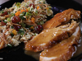 Roasted, Brined Turkey Breast with Maple-Worcestershire Gravy and Fruit and Nut Rice Pilaf