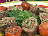 Grilled Beef Braciole with Grilled Tomato-Basil Relish