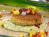 Crispy Louisiana Crab Cakes with Mango Salsa, Spiced Tomato Glaze and Cilantro-Avocado Emulsion