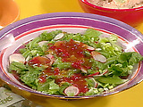 Green Salad with Red Pepper Relish Dressing