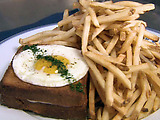 Croque-Madame, Sauce Mornay (Grilled Ham and Cheese Sandwich with a Fried Egg and Mornay Sauce)