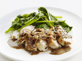 Peppercorn Chicken with Lemon Spinach
