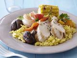 Grilled Meats and Vegetables over Saffron Orzo