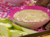 Caramelized Onion and White Cheddar Dip with Apples and Dark Bread