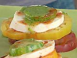 Fresh Mozzarella and Stacked Heirloom Tomato Salad with Green Chile-Cilantro Oil and Chipotle Vinegar