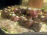 Steak, New Potato and Portobello Kebabs on Rosemary Skewers