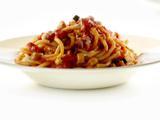 Zucchini Tomato Sauce with Fat Spaghetti