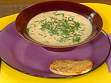 """Cauliflower Soup and Garlic and Cheese Sourdough """"Dippers"""""""