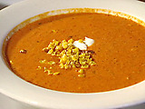 Cream of Roasted Red Bell Pepper Soup with Roasted Sweet Corn and Cilantro- Lime Sour Cream