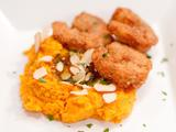 Coconut Shrimp with Spiced Sweet Potato Mash and Almond Joy Butter