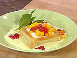 Puff Pastry Shells with Cream Cheese, Guava Jelly and Ginger Creme Anglaise