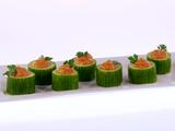 Roasted Red Pepper Hummus in Cucumber Cups