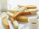 Almond and Lemon Biscotti Dipped in White Chocolate