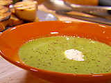 Buttery Baby Pea Soup with Pan Grilled Bread