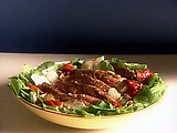 Seared Rib-Eye Steak with Arugula and Roasted Pepper Salad