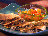 Pork and Rice Quesadillas with Orange Salsa