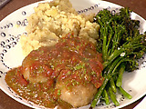Mozzarella Stuffed Chicken Sausage Balls, Tomato-Basil Sauce, Cacio e Pepe Potatoes and Roast Broccolini